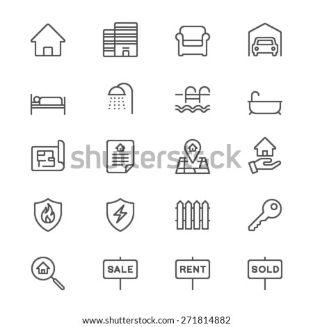 Real estate thin icons - stock vector