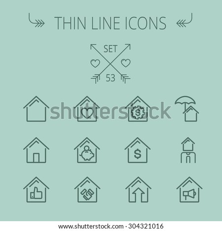 Real estate thin line icon set for web and mobile. Set includes- house heart, umbrella, dollar sign, piggy bank, megaphone icons. Modern minimalistic flat design. Vector dark grey icon on grey - stock vector