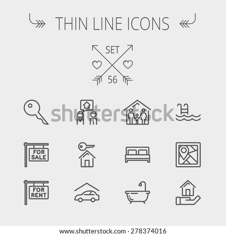 Real estate thin line icon set for web and mobile. Set includes- key, placard, couple, garage, family, tub, pool icons. Modern minimalistic flat design. Vector dark grey icon on light grey background. - stock vector
