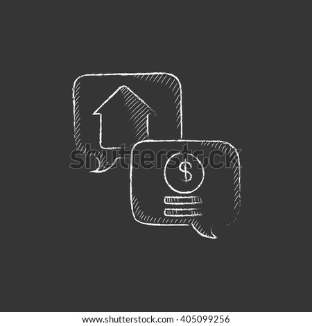 Real estate transaction. Drawn in chalk icon. - stock vector