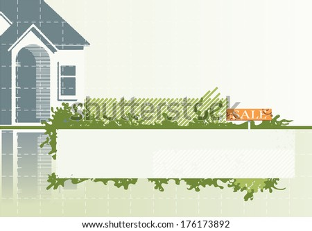 Real estate. Vector background of the house, grunge elements and copy space for text