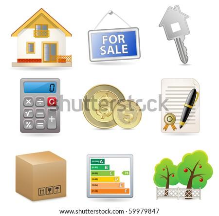 Real Estate - Vector Icon Set - stock vector