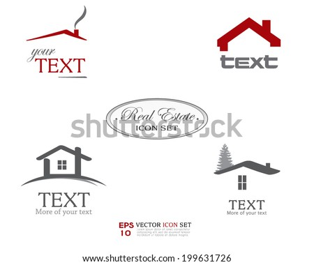 Real Estate Vector Icon set. Business sign template for Real Estate, brokerage, building, renovation businesses. Business graphics. Image may be used as web site or business card element. Sample text  - stock vector