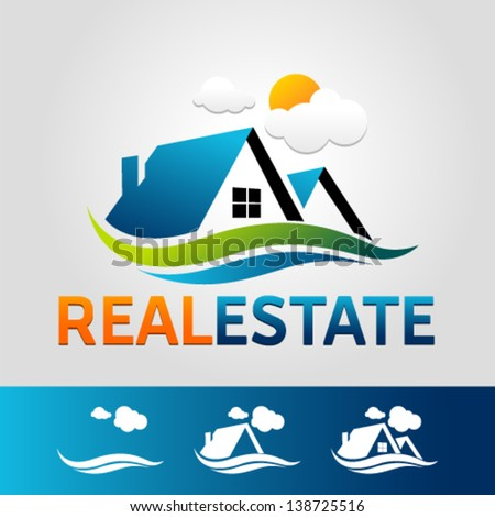Real estate Vector Icon Set. Graphic Design Editable For Your Design. - stock vector