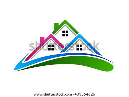 Real estate vector logo design, colorful realty with swing shape and roof represented strong and modern real estate