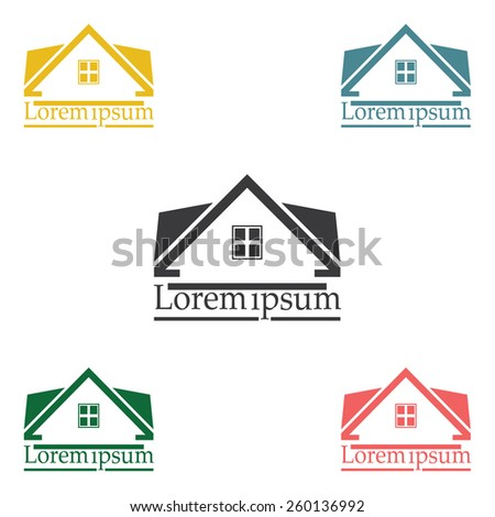 Real Estate vector logo design template color set. rooftop abstract concept icon. Realty construction architecture symbol. - stock vector