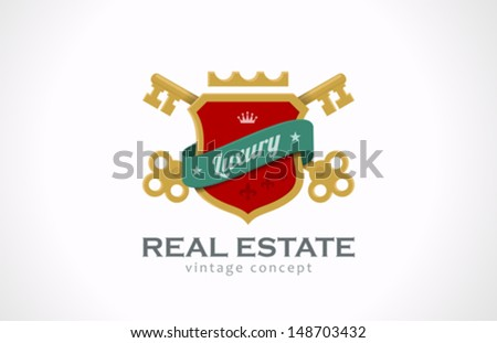 Real Estate Vintage Luxury logo design template. Keys and shield with ribbon. Realty symbol icon old classic style. - stock vector