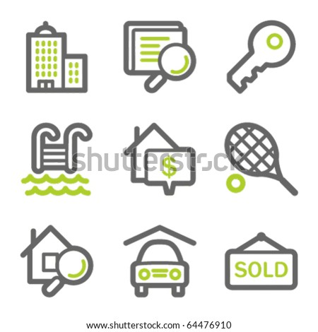 Real estate web icons, green and gray contour series - stock vector