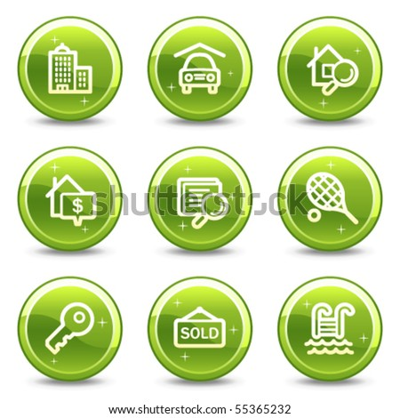 Real estate web icons, green glossy circle buttons series - stock vector