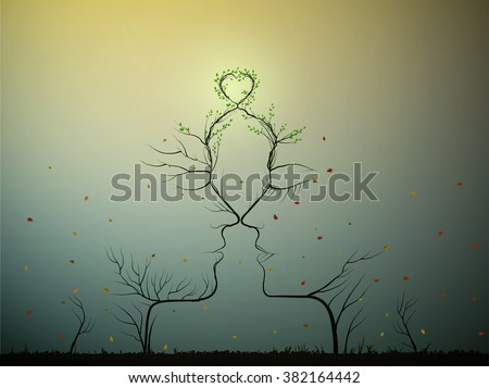 real love never change, couple of people look like tree branches silhouettes with green heart, two profiles of lowers concept, vector - stock vector
