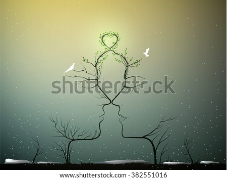 real love never change, sense of love, couple of people look like tree branches silhouettes with green heart and two pigeons in cold winter around, marriage concept, vector - stock vector