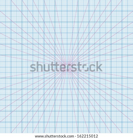 Real size vector blue perspective grids millimeter engineering paper - stock vector