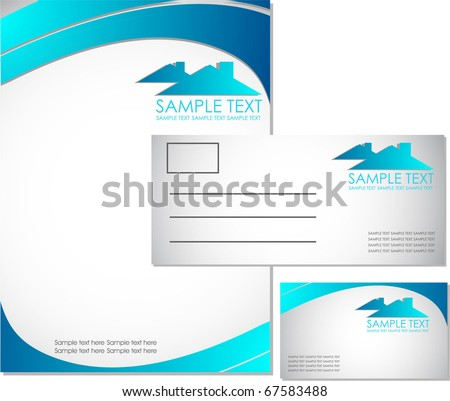 real state corporate identity kit - stock vector