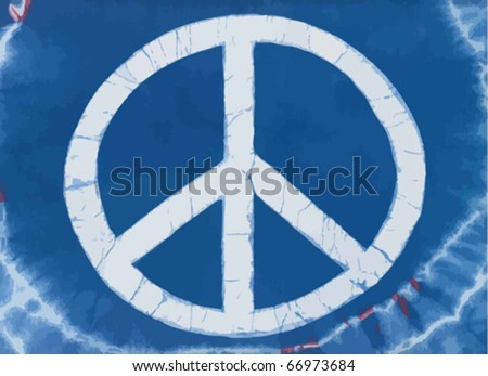 Real tye dye Peace Symbol on cotton knit material. Vector. - stock vector