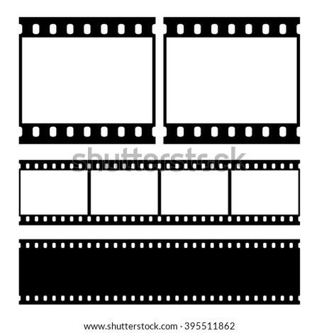 Real vector film strip - straight and negative . Insulated windows - you can create variable long straight film strip. Eps 10 vector file.  - stock vector