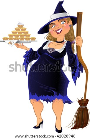 Real witch with cake. vector