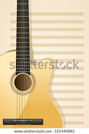 realistic acoustic guitar with musical sheets as background - stock vector