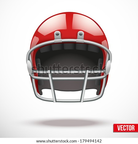 Realistic American football helmet. Vector sport illustration. Equipment for protection of player. Isolated on background. - stock vector