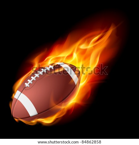 Realistic American football in the fire. Illustration on white background.