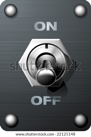 Realistic analog toggle switch tumbler in Off state - stock vector