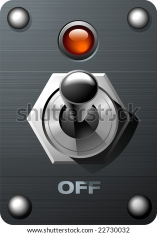 Realistic Analog Toggle Switch Tumbler in ON position - stock vector