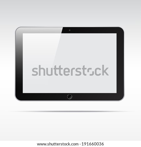 Realistic android tablet computer isolated on light background. Blank empty screen - stock vector