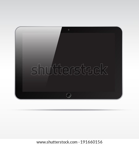 Realistic android tablet computer isolated on light background. Empty screen - stock vector