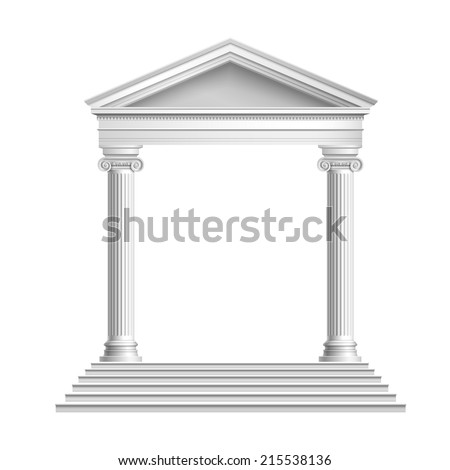 Realistic antique marble temple front with ionic columns isolated on white background vector illustration - stock vector
