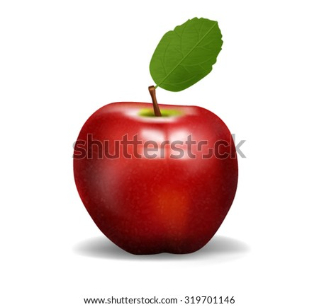 Realistic Apple Isolated on White