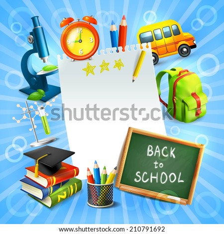 Realistic back to school concept template with education icons vector illustration - stock vector