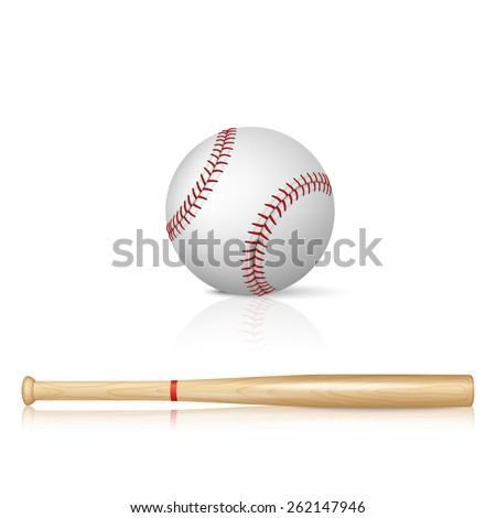 Realistic baseball bat and baseball with reflection on white background - stock vector