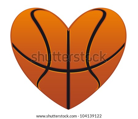Realistic basketball heart isolated on white background for sports design, such logo. Jpeg version also available in gallery - stock vector