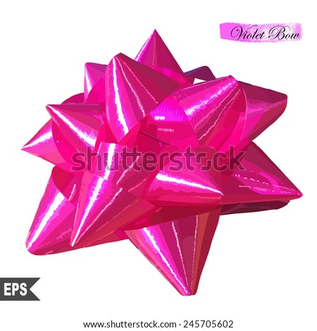 Realistic beautiful pink bow isolated on white. EPS10 vector illustration. - stock vector