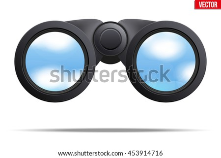 Realistic Binoculars with sky reflection on lens. Original design and Front view. Editable Vector illustration Isolated on white background.