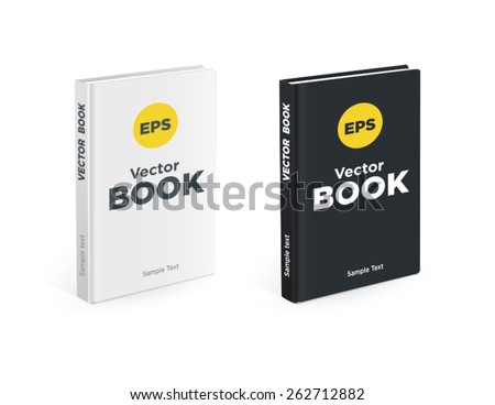 Realistic black and white books - stock vector