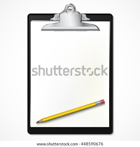 realistic black clipboard with paper and pencil on it / vector illustration