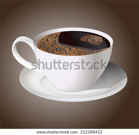 Realistic black coffee cup. vector art image illustration, isolated on brown background - stock vector