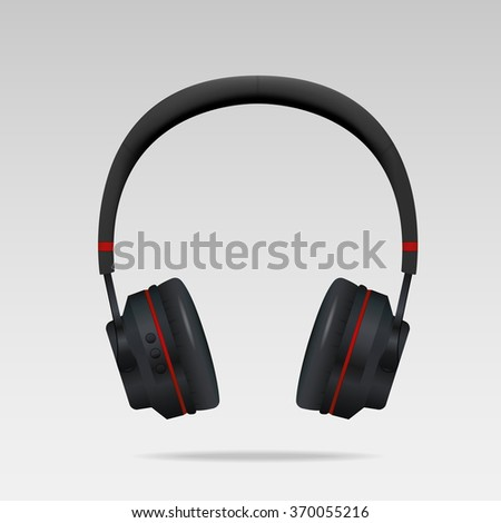 Realistic Black Headphones - stock vector