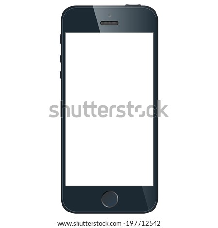 Realistic black mobile phone with blank screen in similar to iphone style isolated on white background. Vector EPS10 - stock vector