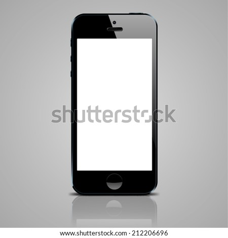 Realistic black mobile phone with blank screen in similar to popular smartphone style on gray
