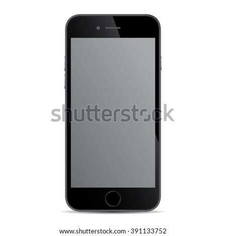 Realistic black modern smart iphon isolated. - stock vector
