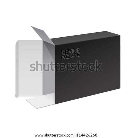 Realistic Black Package Box Opened lying on its side. For Software, electronic device and other products. Vector illustration