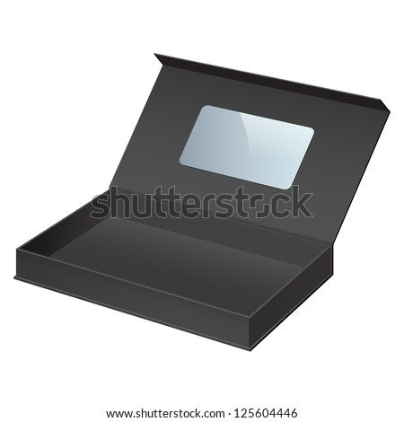 Realistic Black Package Cardboard Box Opened. For gifts, jewelry, electronic device and other things. Vector Illustration. On separate layers box and label - stock vector
