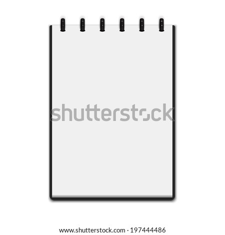 Realistic blank notepad isolated on white background. Notebook. Vector illustration  - stock vector