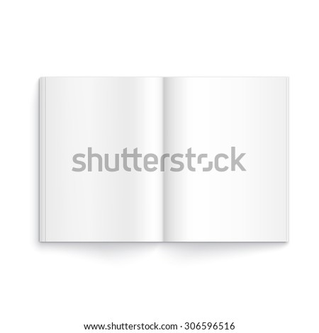 Realistic blank opened magazine template on white background with soft shadows.