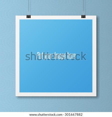 Realistic blank Poster Template on Wall. Modern Mockup for your Portfolio - stock vector