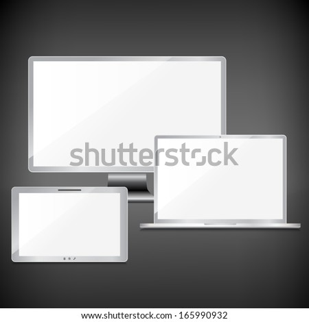 Realistic blank sliver screens set on dark background