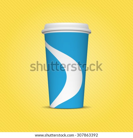 Realistic blue and white Paper Cup Template for Soda or cold Beverage on yellow Background. Mock up ready for your Design and Advertising - stock vector