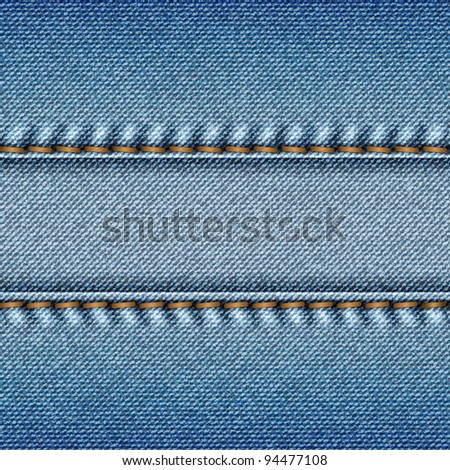 Realistic blue jeans texture background. Vector illustration. - stock vector
