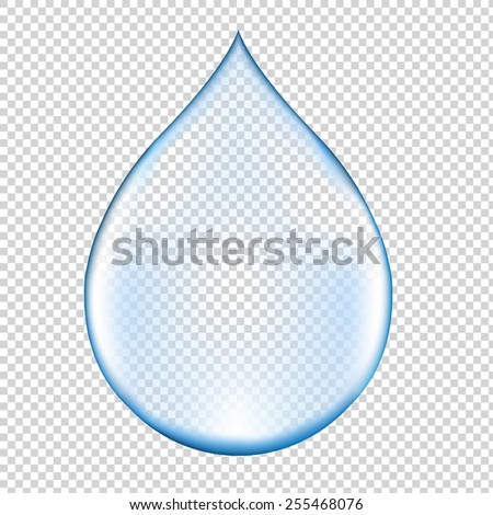 Realistic Blue Water Drop With Gradient Mesh, Vector Illustration - stock vector